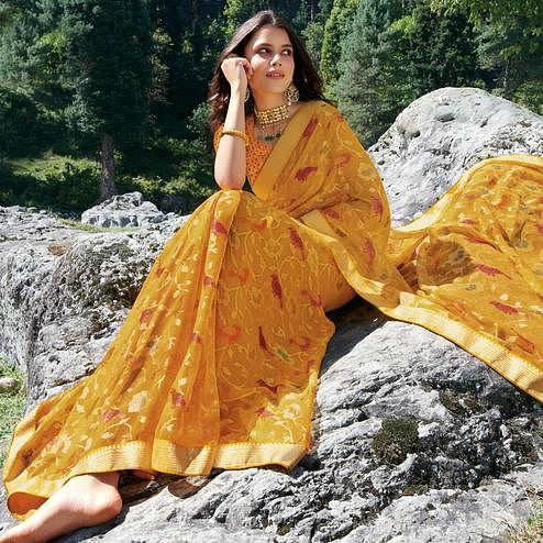 Exotic Yellow Colored Festive Wear Woven Brasso Saree
