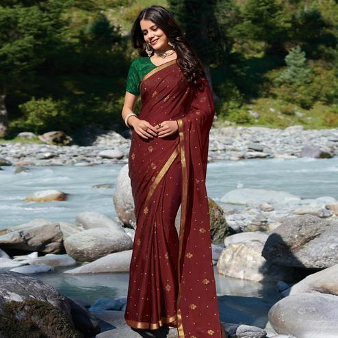 Trendy Maroon Colored Festive Wear Woven Georgette Saree