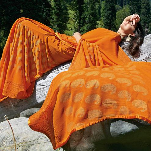 Radiant Orange Colored Partywear Woven Georgette Saree