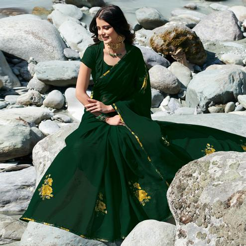 Pleasant Bottle Green Colored Partywear Printed Chiffon Saree