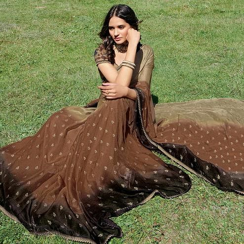 Exceptional Brown Colored Partywear Floral Woven Chiffon Saree