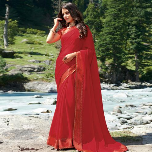 Gleaming Red Colored Partywear Woven Chiffon Saree