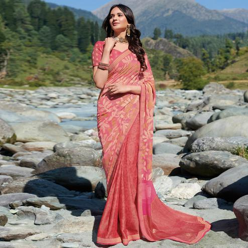 Unique Pink Colored Partywear Floral Printed Brasso Saree