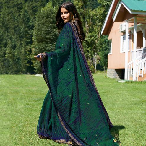 Demanding Purple - Green Colored Partywear Printed Chiffon Saree