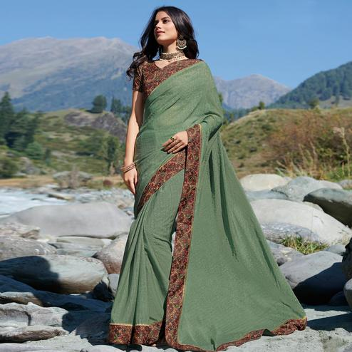 Refreshing Olive Green Colored Partywear Chiffon Saree