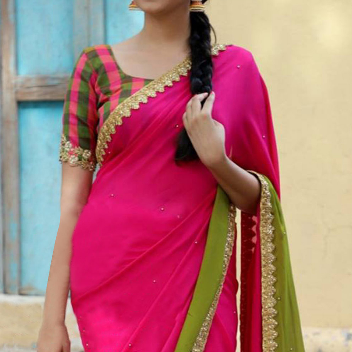 Gorgeous Pink-Green Partywear Printed And Embroidered Georgette Saree
