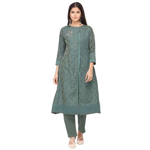 Glorious Green Colored Party Wear Embroidered Chanderi Silk Kurti-Pant Set