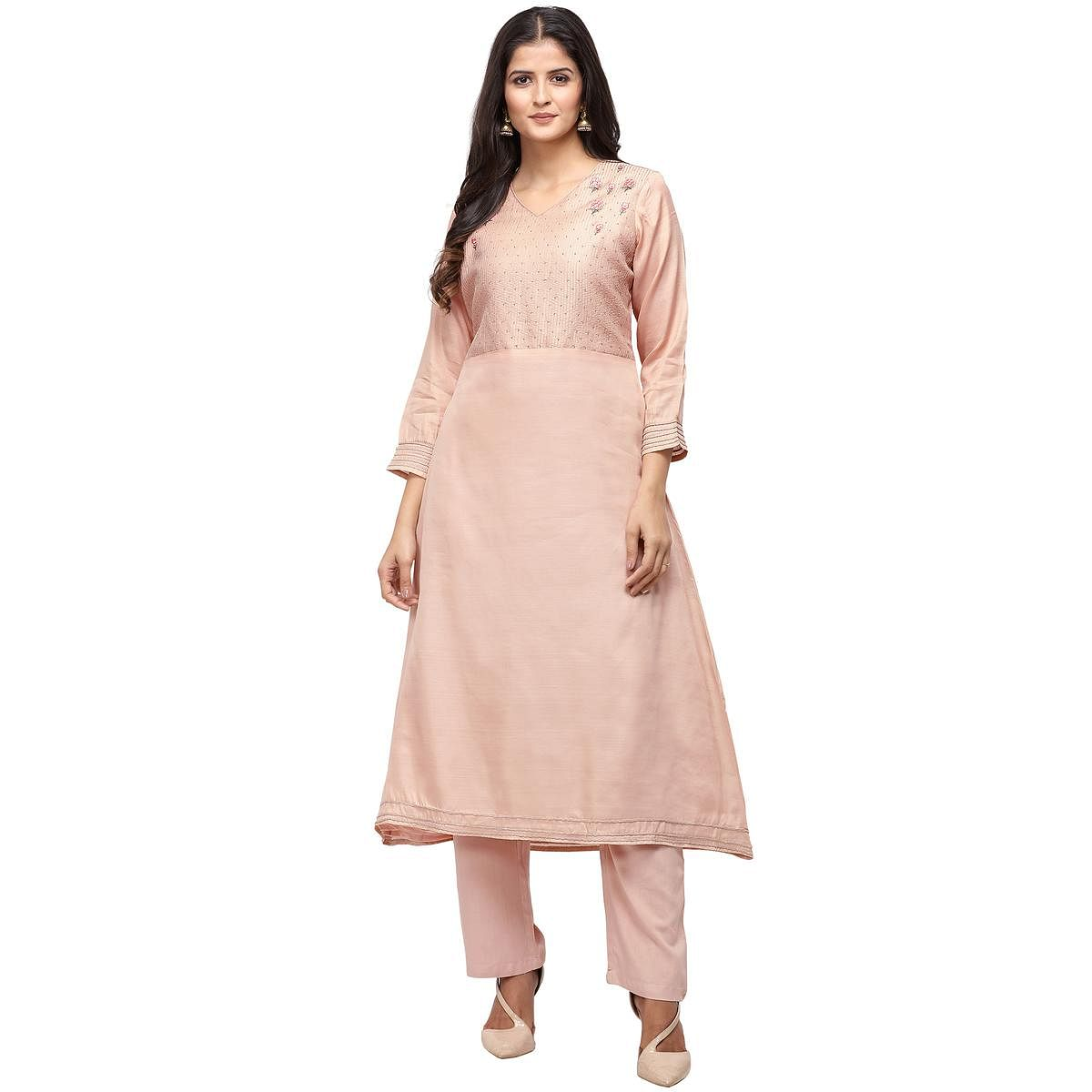Beautiful Light Pink Colored Party Wear Embroidered Silk Kurti-Pant Set
