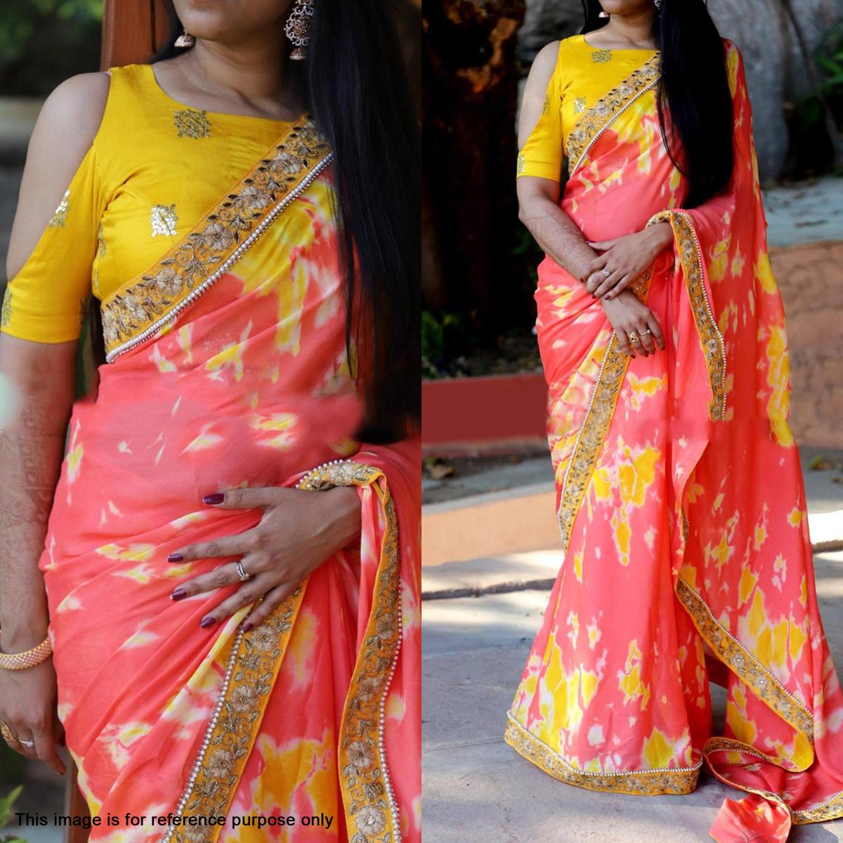 Stylish Peach Yellow Partywear Shibori Printed And Embroidered Georgette Saree