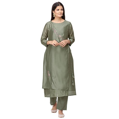 Engrossing Olive Green Colored Party Wear Embroidered Silk Kurti-Pant Set