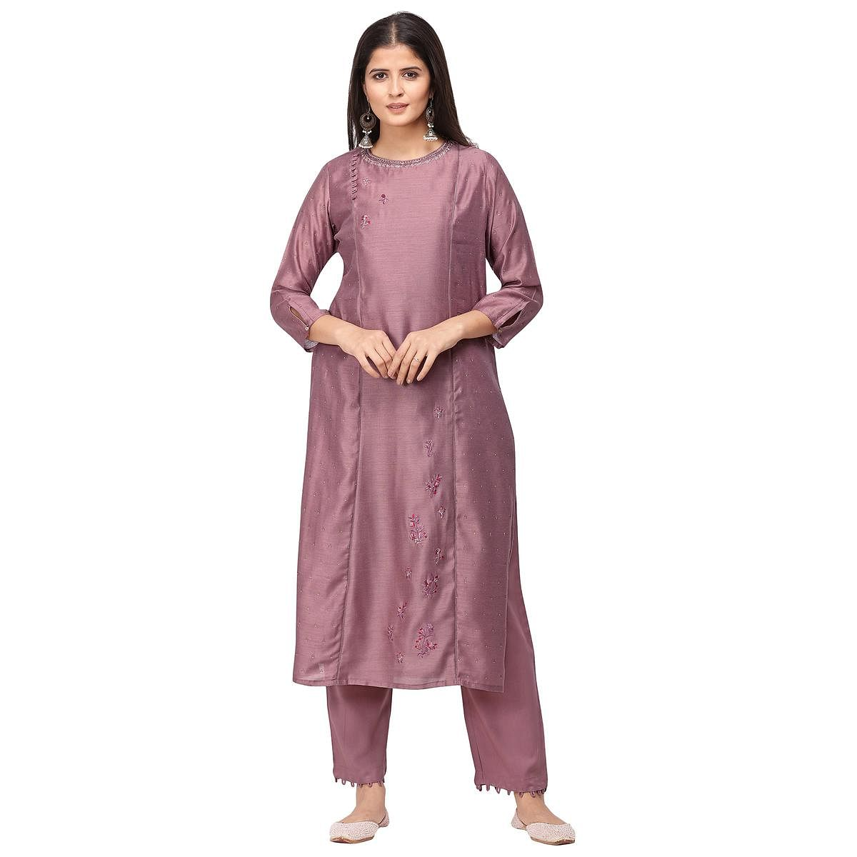 Innovative Mauve Colored Party Wear Embroidered Silk Kurti-Pant Set