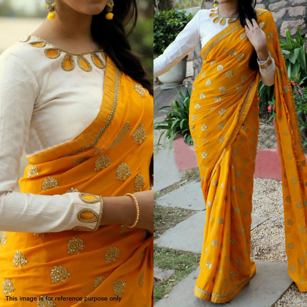 Ravishing Yellow Partywear Embroidered Georgette Saree