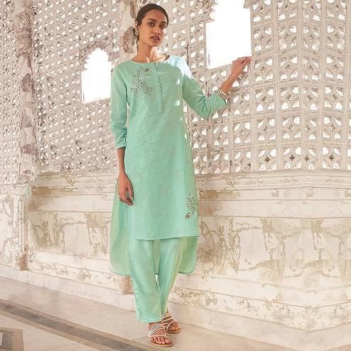 Opulent Mint Green Colored Party Wear Embroidered Cotton Kurti-Pant Set