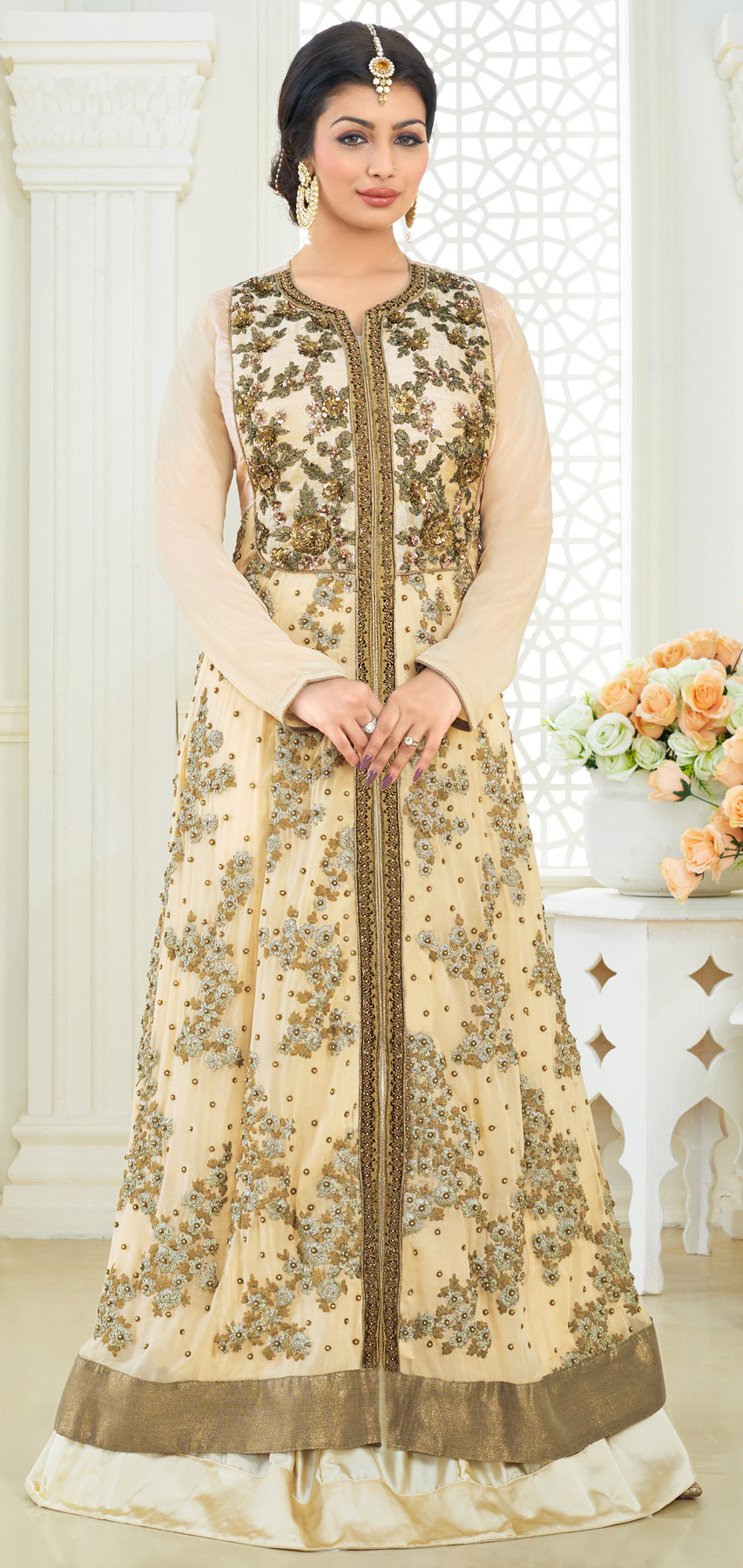 Cream Cord Embroidered Work Georgette Suit