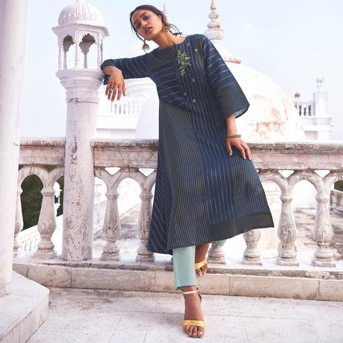 Demanding Navy Blue Colored Party Wear Embroidered Cotton Kurti-Pant Set