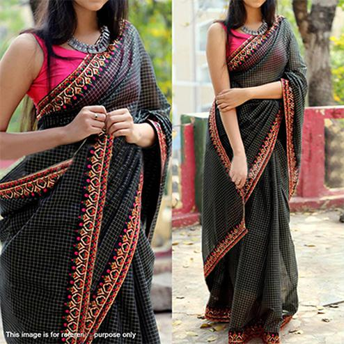 Stunning Black Partywear Ivory Printed With Embroidered Lace Zarana Silk Saree