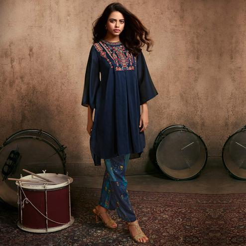 Flamboyant Navy Blue Colored Party Wear Embroidered Silk Kurti-Pant Set