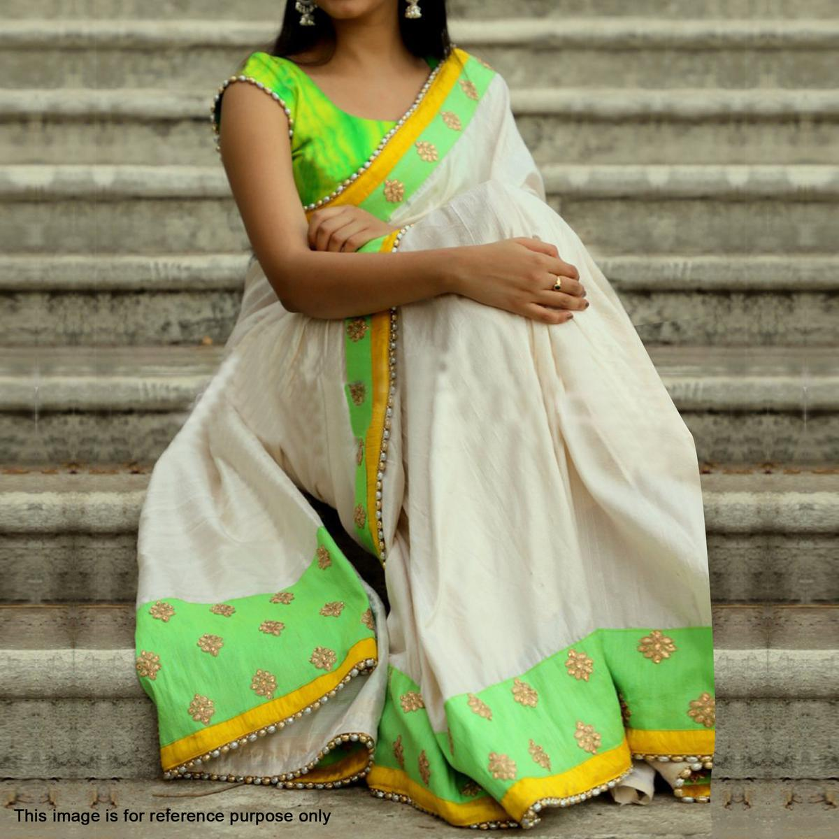 Elegant White-Green Partywear Embroidered Chanderi Cotton Saree