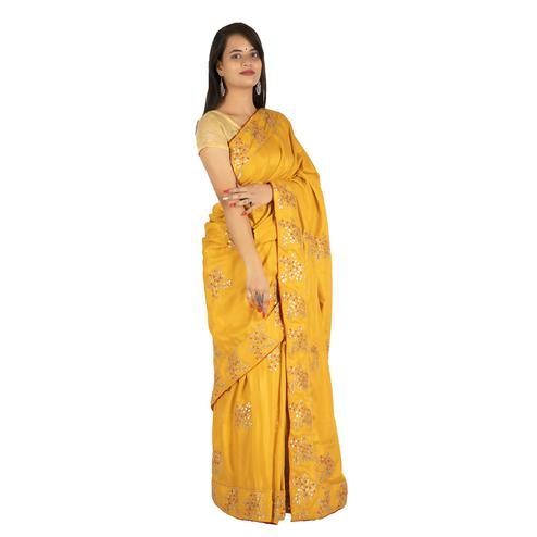 Pooja Fashion - Yellow Colored Party Wear Embroidered Brasso Silk Saree