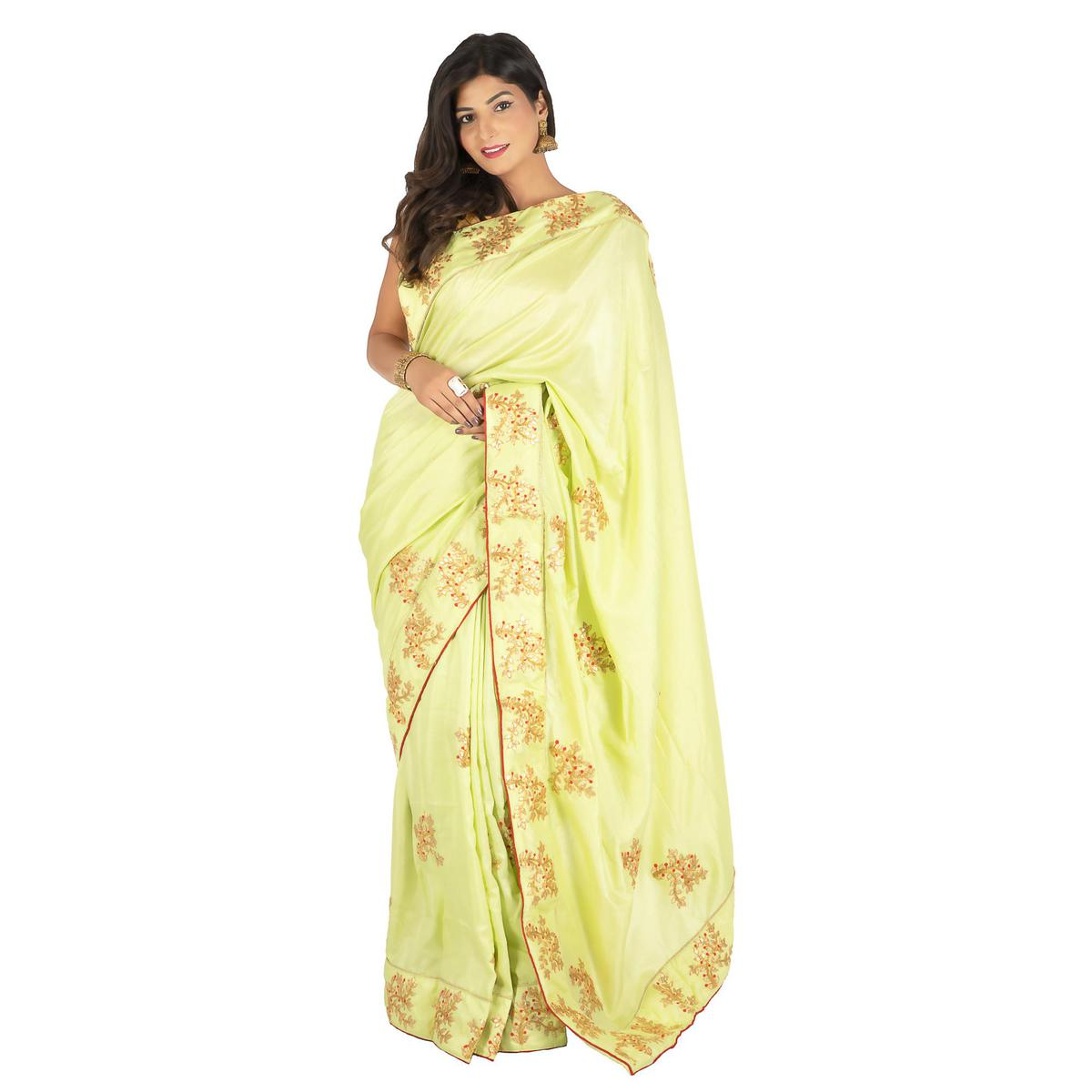 Pooja Fashion - Green Colored Party Wear Embroidered Brasso Silk Saree