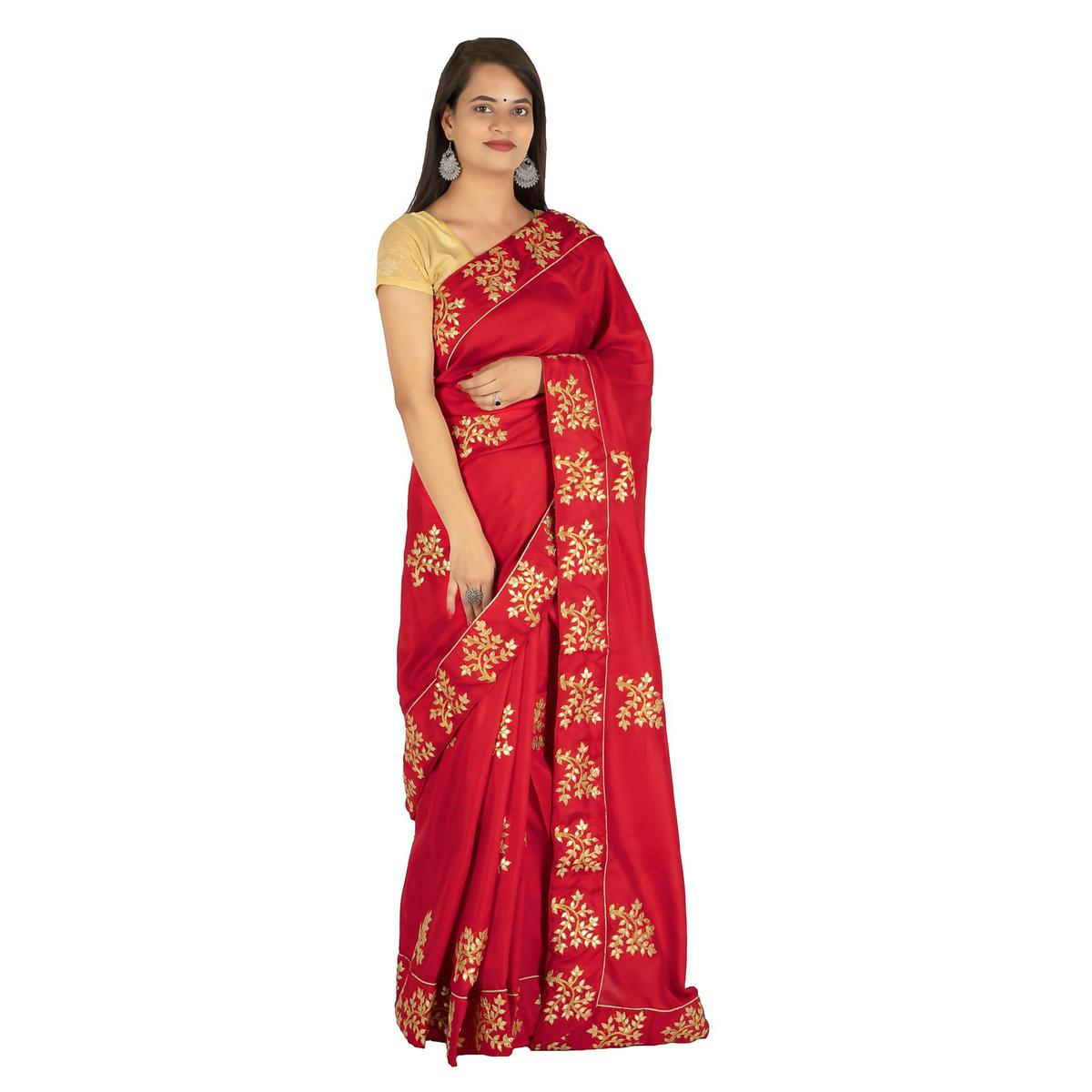Pooja Fashion - Red Colored Party Wear Embroidered Brasso Silk Saree
