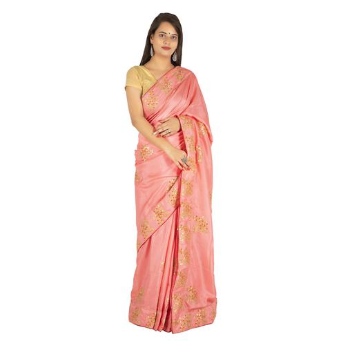 Pooja Fashion - Pink Colored Party Wear Embroidered Brasso Silk Saree
