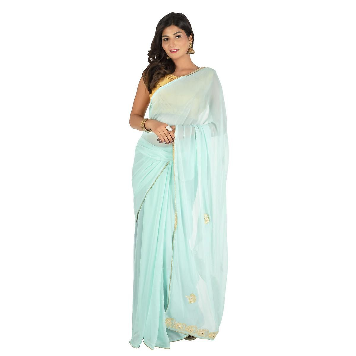 Pooja Fashion - Turquoise Blue Colored Party Wear Embroidered Chiffon Saree