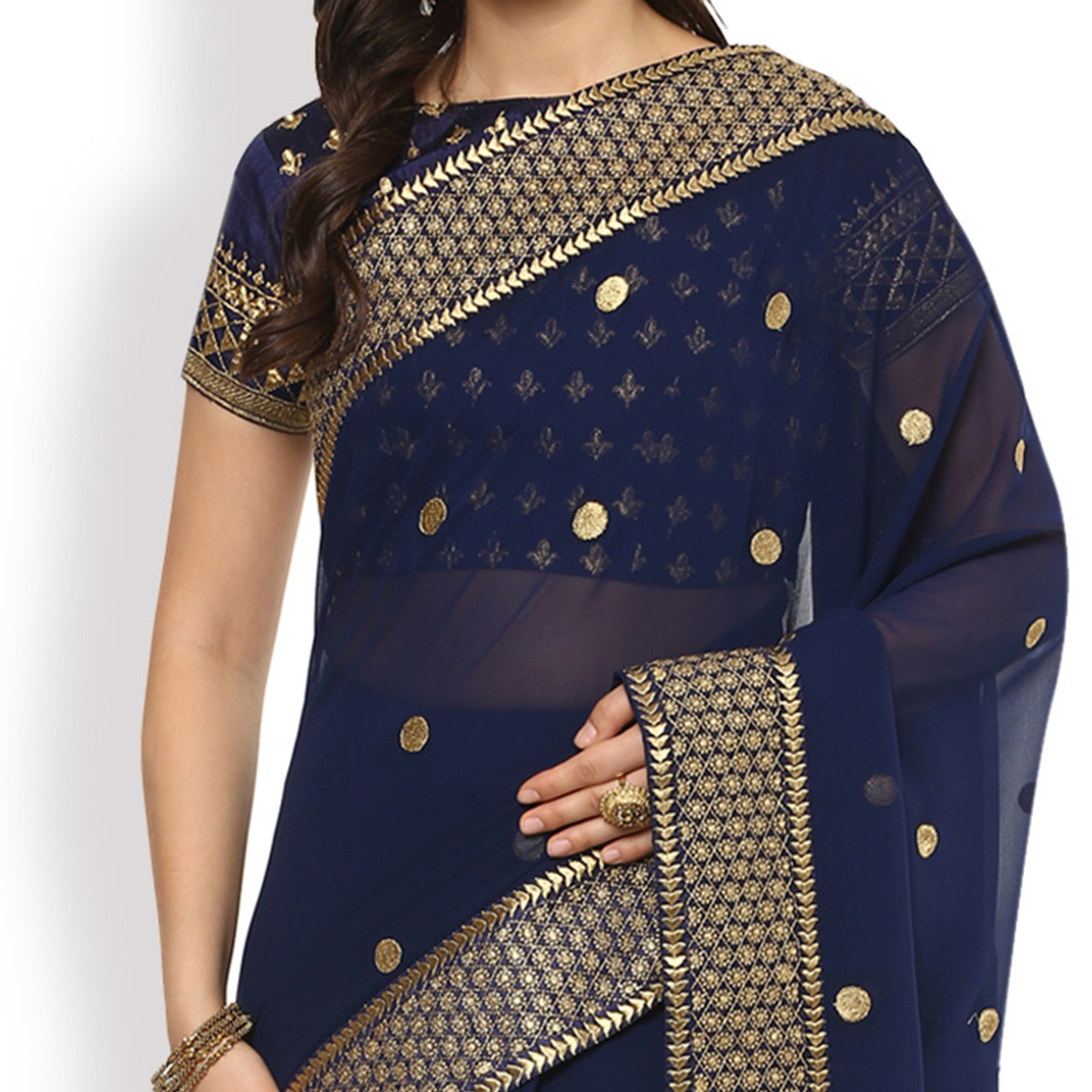 Mesmerising Navy Blue Designer Partywear Embroidered Georgette Saree