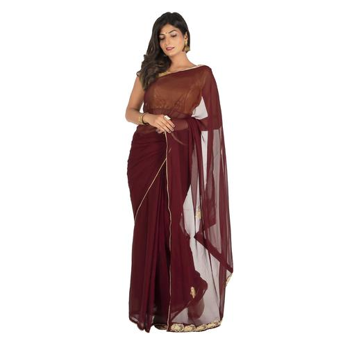 Pooja Fashion - Brown Colored Party Wear Embroidered Chiffon Saree