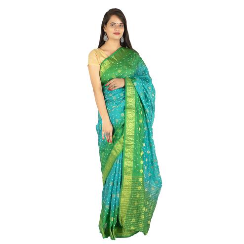 Pooja Fashion - Blue-Green Colored Party Wear Bandhani Print Art Silk Saree