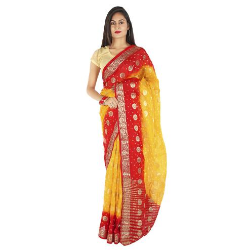 Pooja Fashion - Red-Yellow Colored Party Wear Woven Art Silk Saree