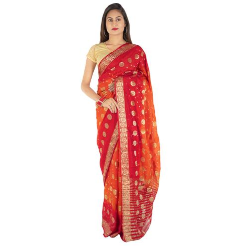 Pooja Fashion - Red Colored Party Wear Woven Art Silk Saree