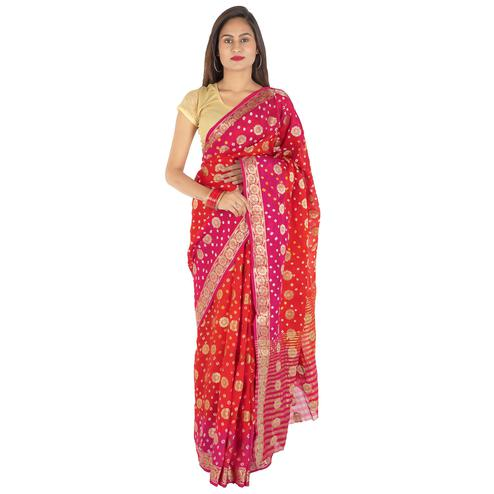 Pooja Fashion - Red-Pink Colored Party Wear Woven Art Silk Saree