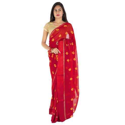 Pooja Fashion - Red Colored Party Wear Printed Georgette Saree