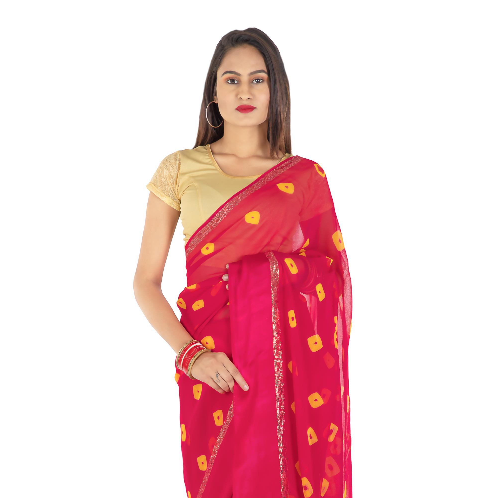 Pooja Fashion - Pink Colored Party Wear Printed Georgette Saree