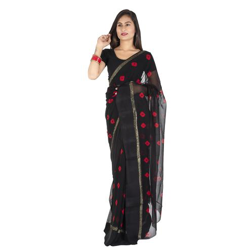 Pooja Fashion - Black Colored Party Wear Printed Georgette Saree