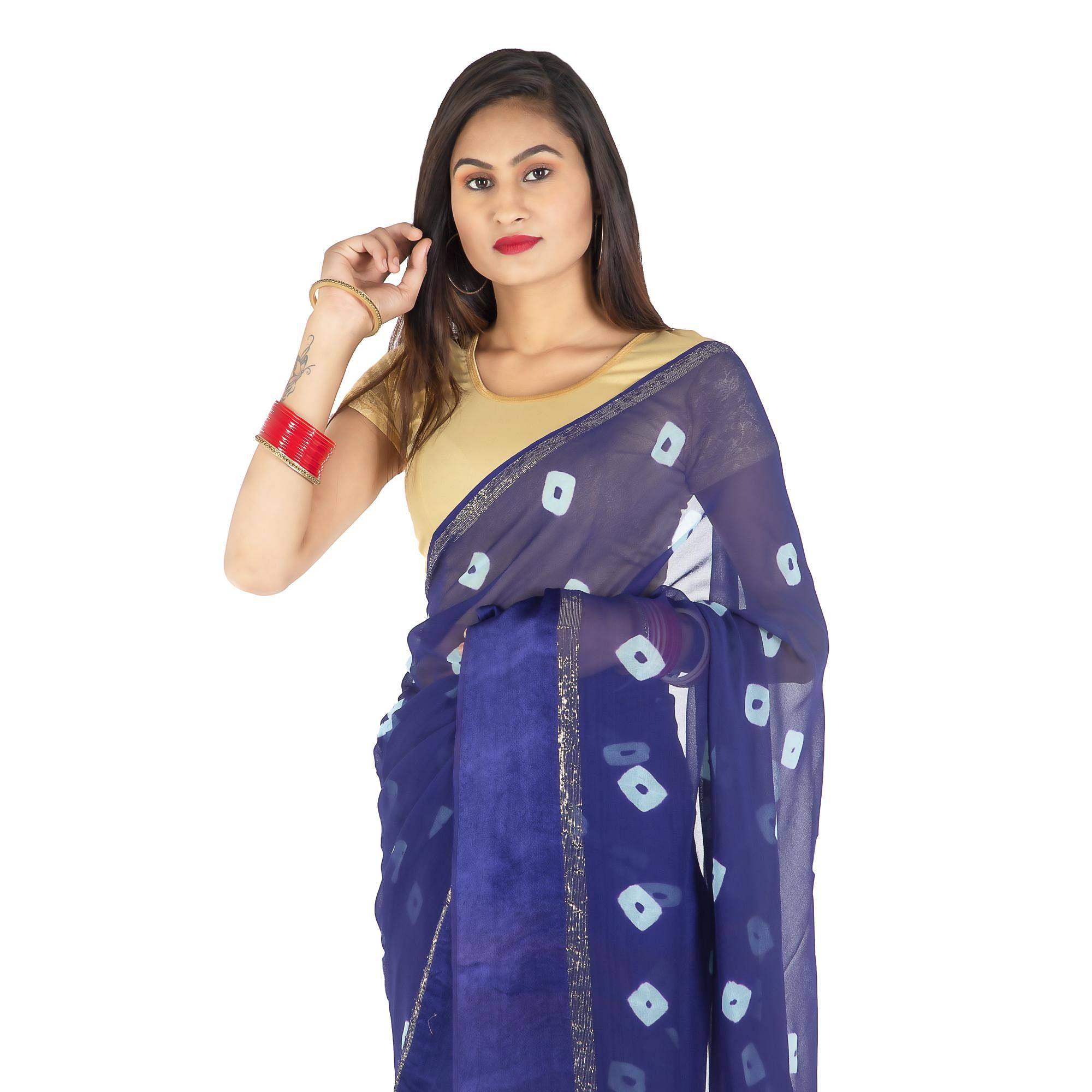 Pooja Fashion - Navy Blue Colored Party Wear Printed Georgette Saree