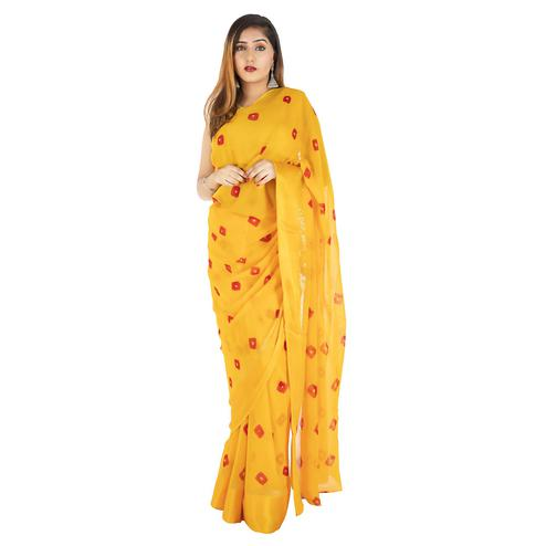 Pooja Fashion - Yellow Colored Party Wear Printed Georgette Saree