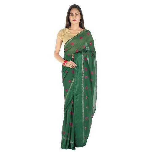 Pooja Fashion - Green Colored Party Wear Printed Georgette Saree