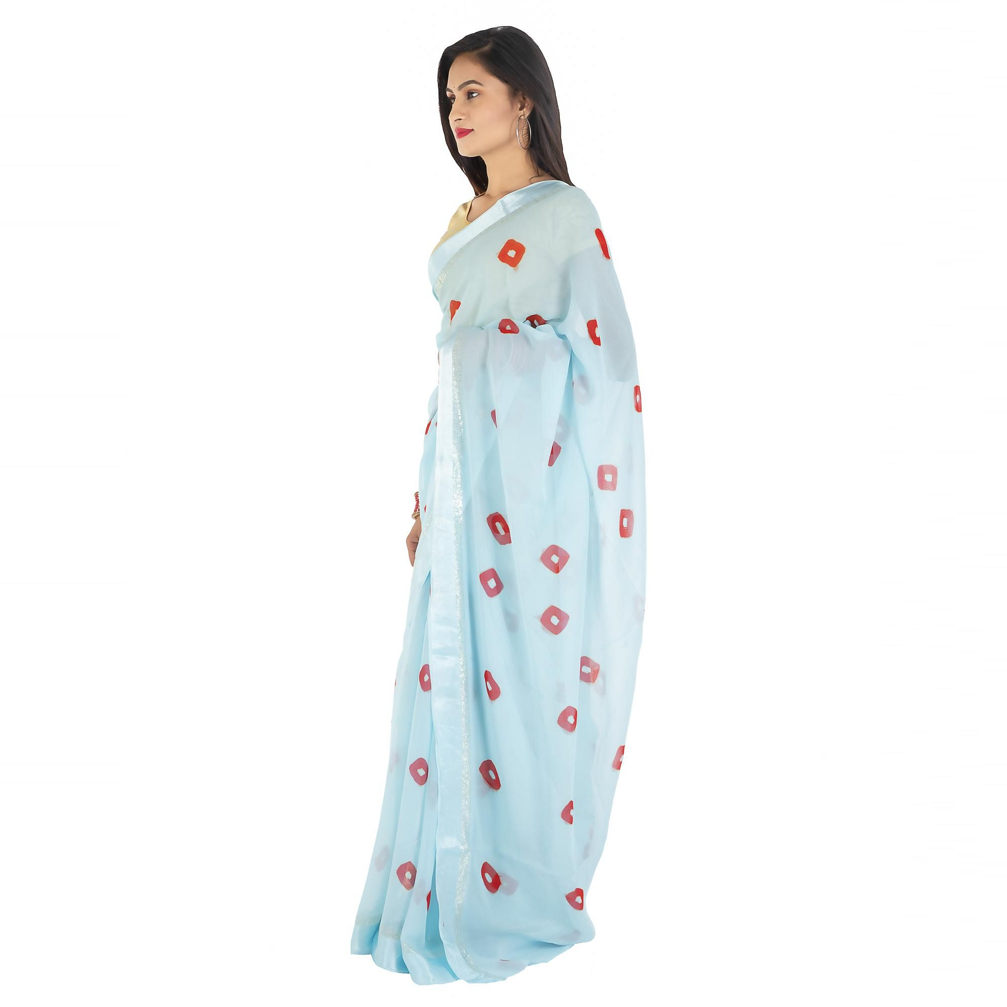 Pooja Fashion - Sky Blue Colored Party Wear Printed Georgette Saree