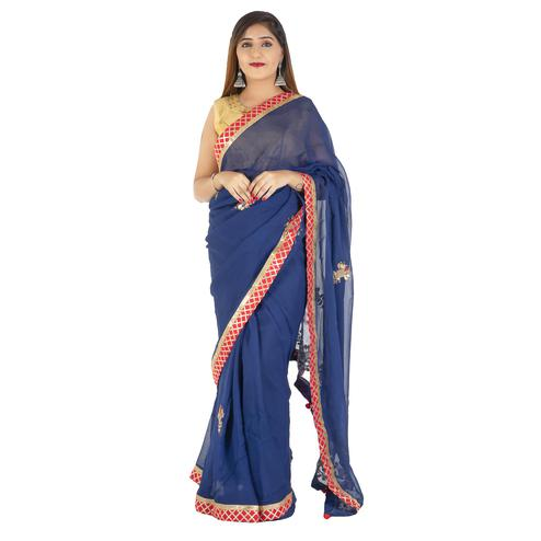 Pooja Fashion - Navy Blue Colored Party Wear Embroidered Georgette Saree