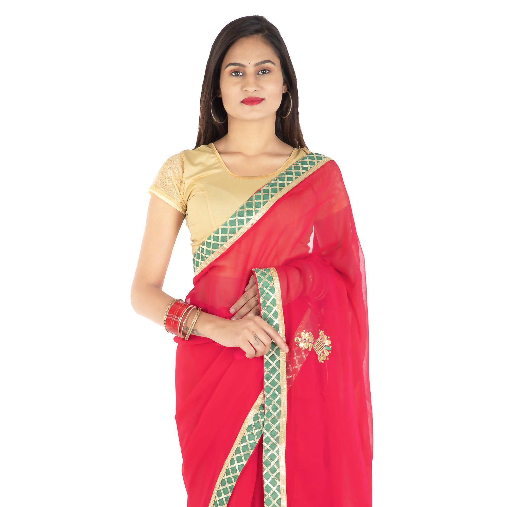 Pooja Fashion - Red Colored Party Wear Embroidered Georgette Saree