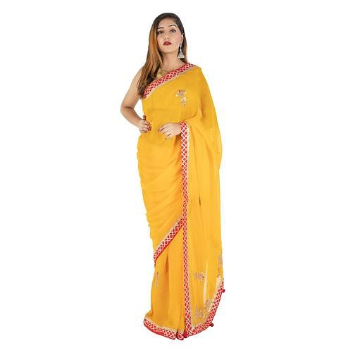 Pooja Fashion - Yellow Colored Party Wear Embroidered Georgette Saree