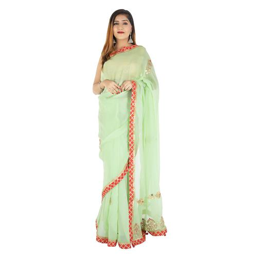 Pooja Fashion - Green Colored Party Wear Embroidered Georgette Saree