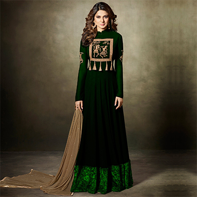 Gorgeous Green Partywear Designer Embroidered Faux Georgette Lehenga Kameez