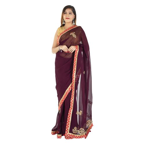 Pooja Fashion - Maroon Colored Party Wear Embroidered Georgette Saree