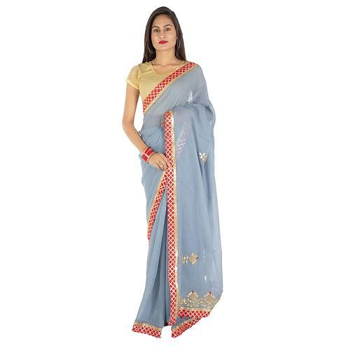 Pooja Fashion - Light Blue Colored Party Wear Embroidered Georgette Saree