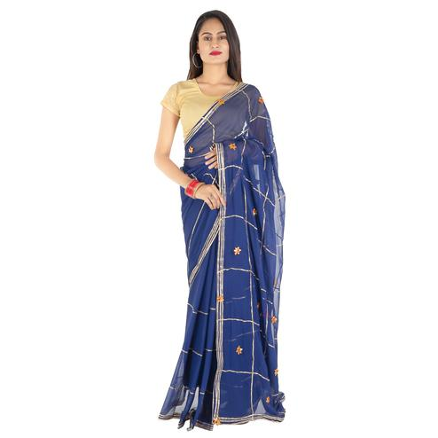 Pooja Fashion - Navy Blue Colored Party Wear Chiffon Saree