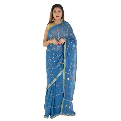 Pooja Fashion - Blue Colored Party Wear Chiffon Saree
