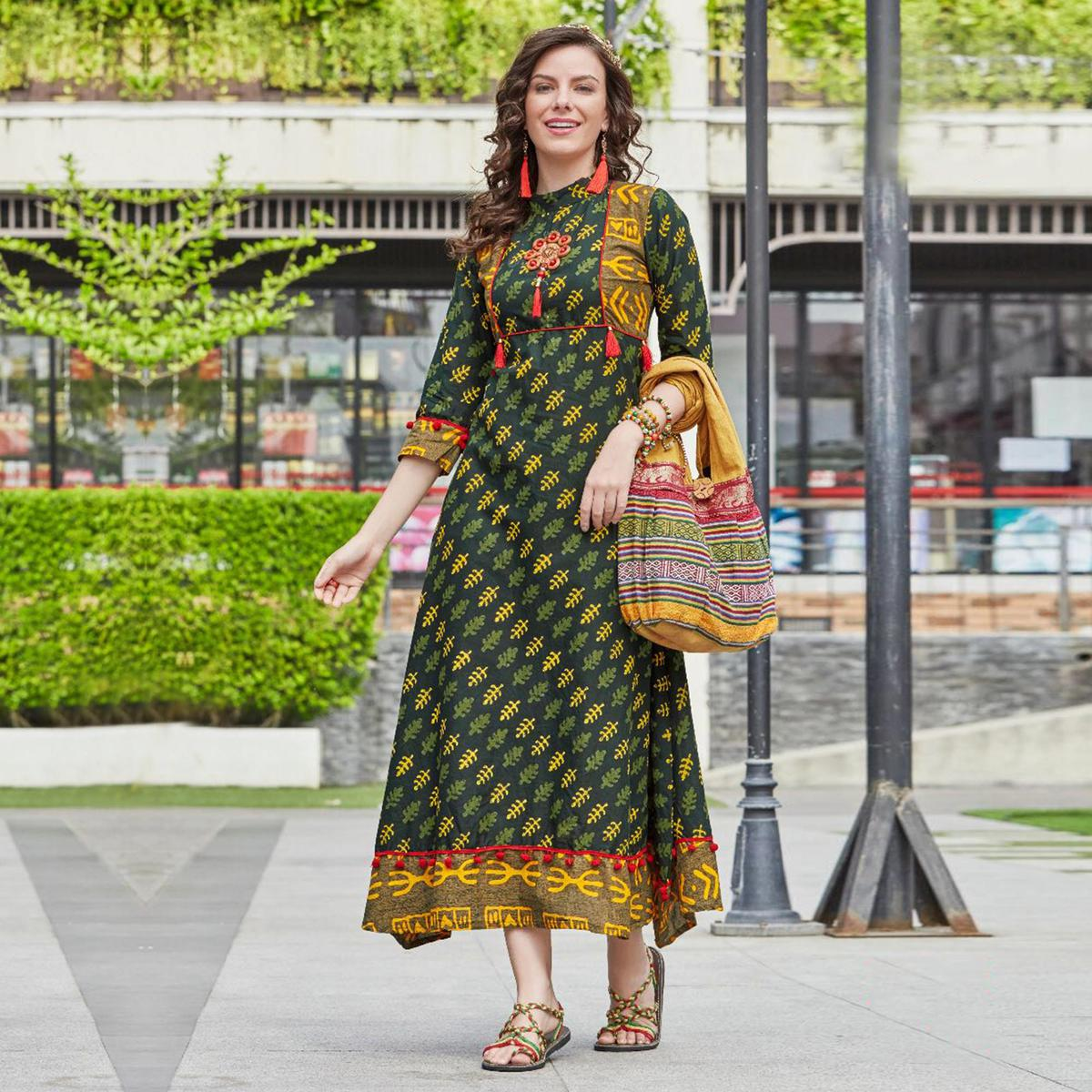 Graceful Green Designer Partywear Printed Cotton Kurti